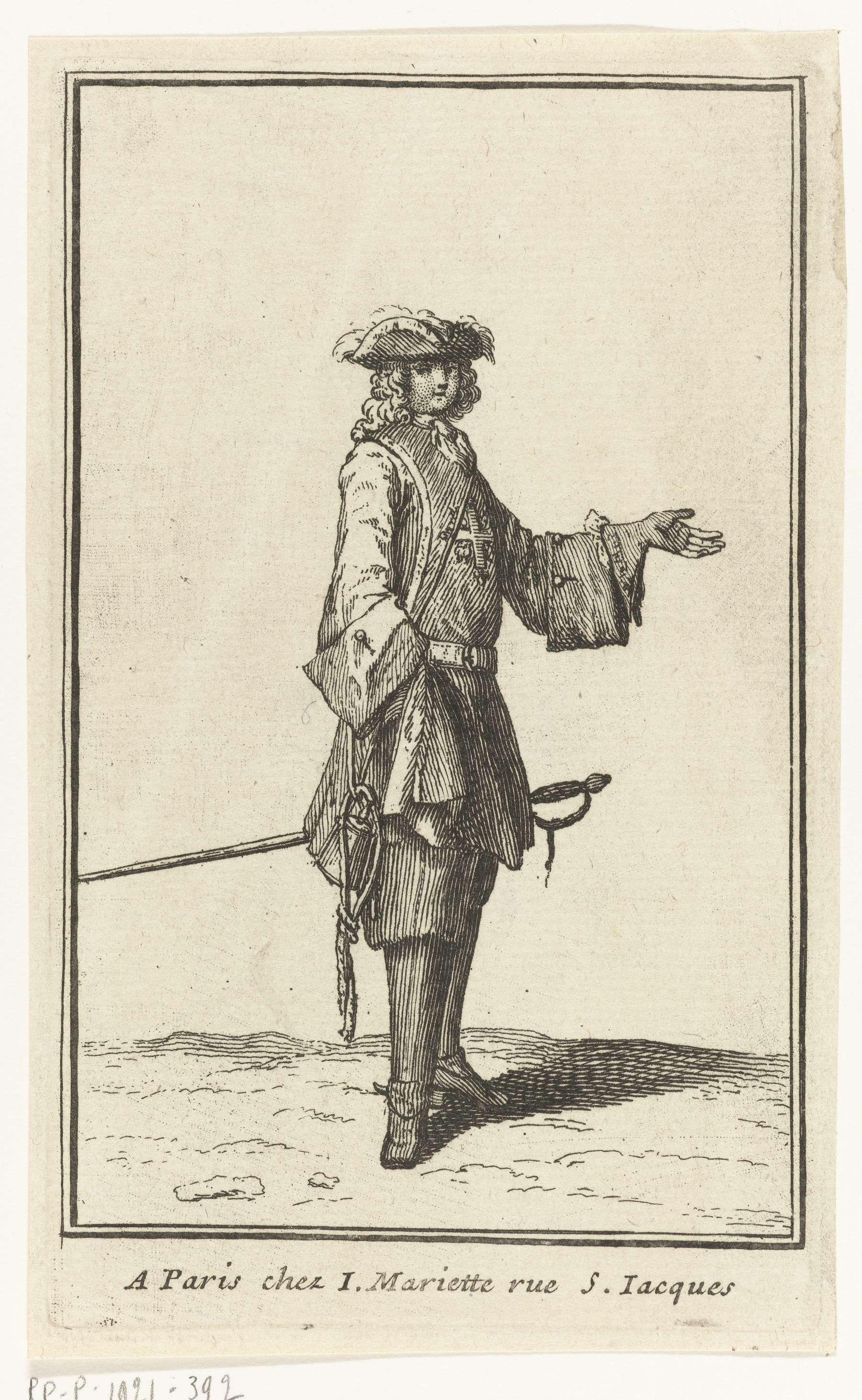 Bernard Picart   Man met degen aan zijn zijde, Bernard Picart, Jean Mariette, 1696   Man gekleed volgens de Franse mode van 1696.