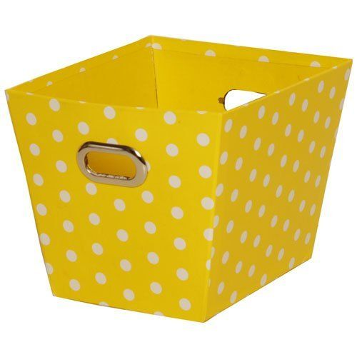 Yellow with Small White Dots 5 1/4 x 7 1/4 Polka Dot Baskets - sold individually by JAM Paper, http://www.amazon.com/dp/B00AAZ7N1Y/ref=cm_sw_r_pi_dp_Ttgxrb0Y62ANF