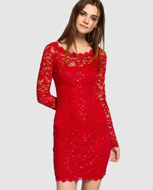 Vestido De Mujer Fórmula Joven De Encaje Con Strass Vestidos De Mujer Vestidos Para Señoras Vestido Rojo Encaje