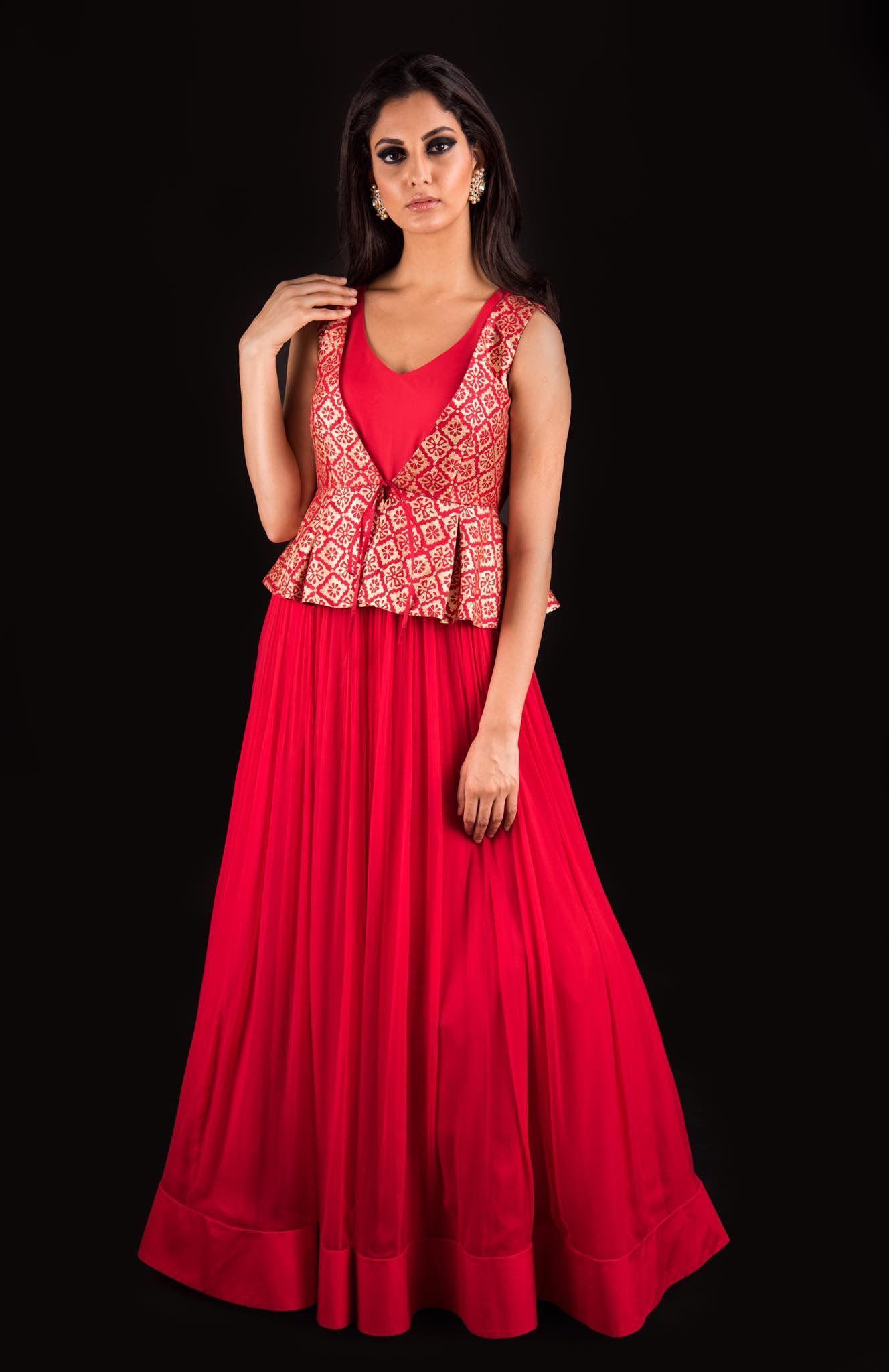 Red brocade blouse new design pinterest indian designer wear