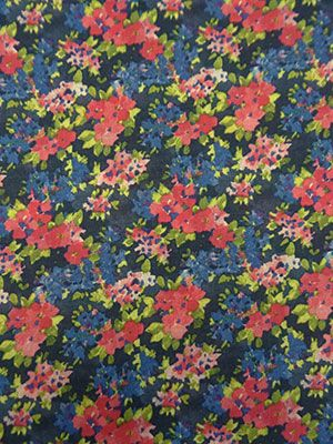 New Arrival! Muted Navy/Coral Pink/Leaf Green/Multi Floral Print Linen-Look Woven 55W