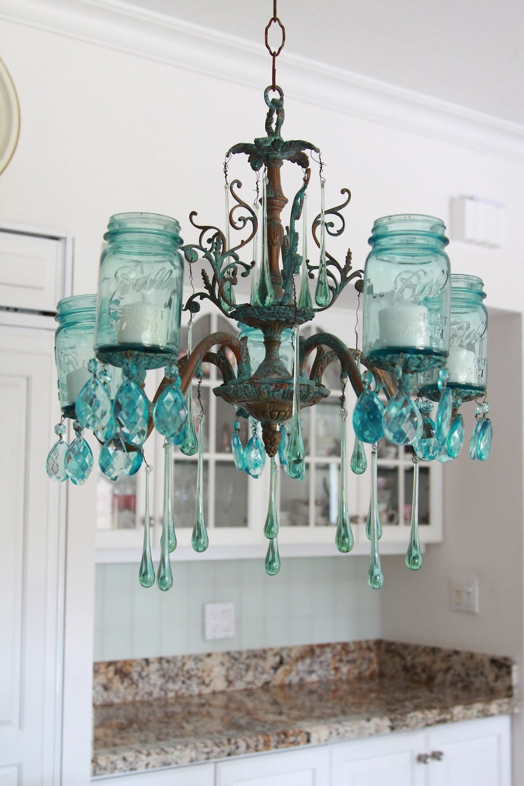 DIY vintage chandelier with aqua crystals and mason jars. Gorgeous ...