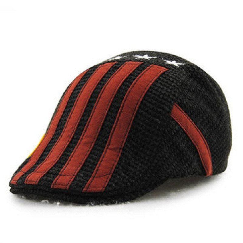 Child Boys Cotton Washed Buckle Stripe Stars Beret Cap Adjustable Beret  Sport Baseball Hat cd0bd1572404