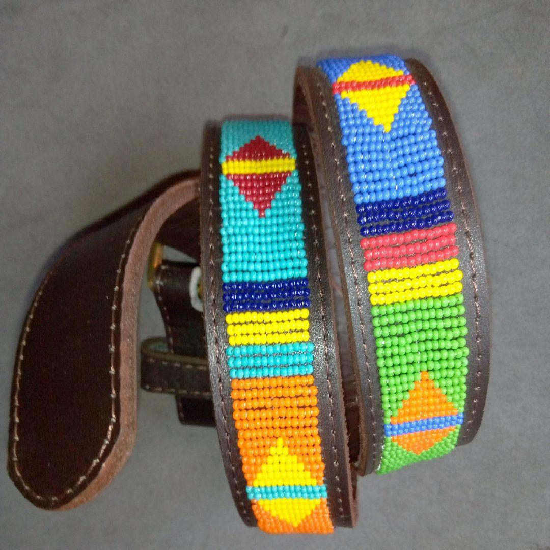 Maasai bead men belt Beaded men belt Leather men belt