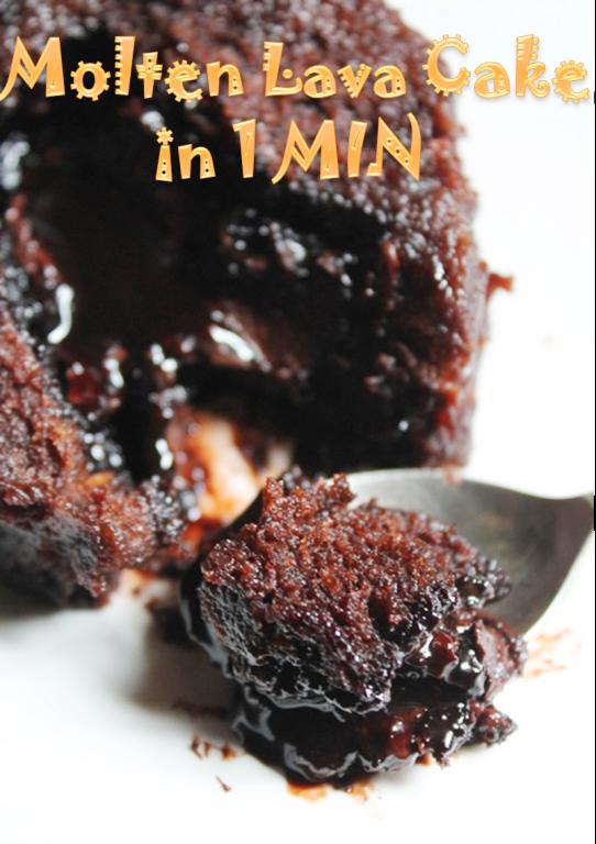 Microwave Eggless Molten Lava Cake Recipe / 1 Min Lava ...