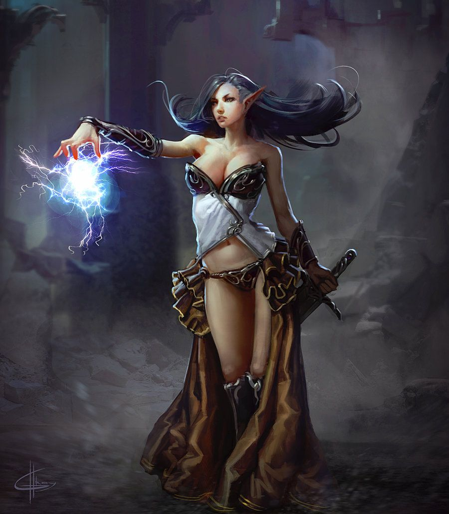 siegegreyhues female elf sorceress witch wizard sorcerer | not