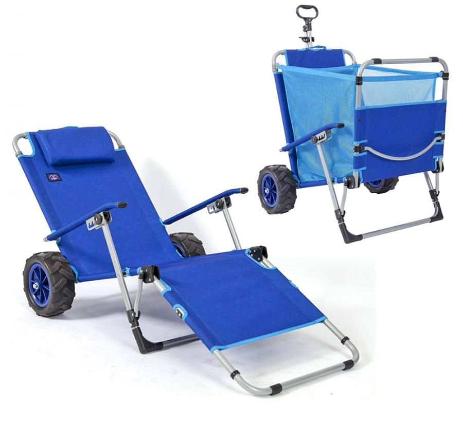 This 2 In 1 Beach Lounger Doubles As A Wagon For Easy Beach Trips Beach Chairs Lounger Beach Trip