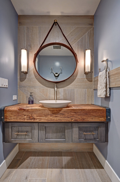 Rustic Modern Bathroom Design Floating Vanity Wood Slab Countertop Orange County Rustic Modern Bathroom Eclectic Bathroom Rustic Powder Room