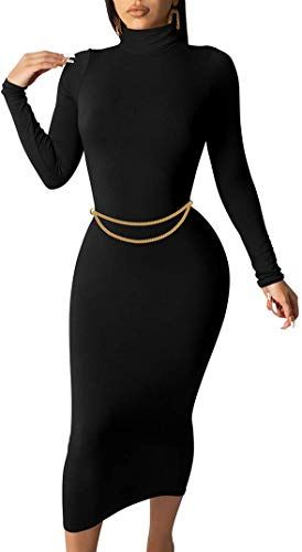 Enjoy exclusive for GOBLES Women's Sexy Long Sleeve Casual Bodycon Midi Elegant Cocktail Party Dress online - Moretopshopping #cocktailpartydresses