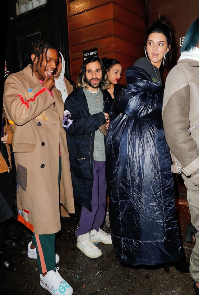 702c5e4cbf4a ASAP Rocky Goes Out With Kendall Jenner Wearing Raf Simons x Ruby Sterling  Coat