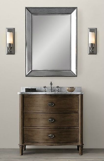 Knockout Knockoff Restoration Hardware Empire Rosette Bathroom - Restoration hardware bathroom mirrors for bathroom decor ideas