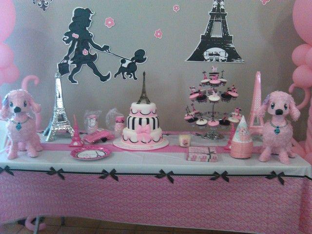Pink poodle in Paris Party #poodle #parisparty