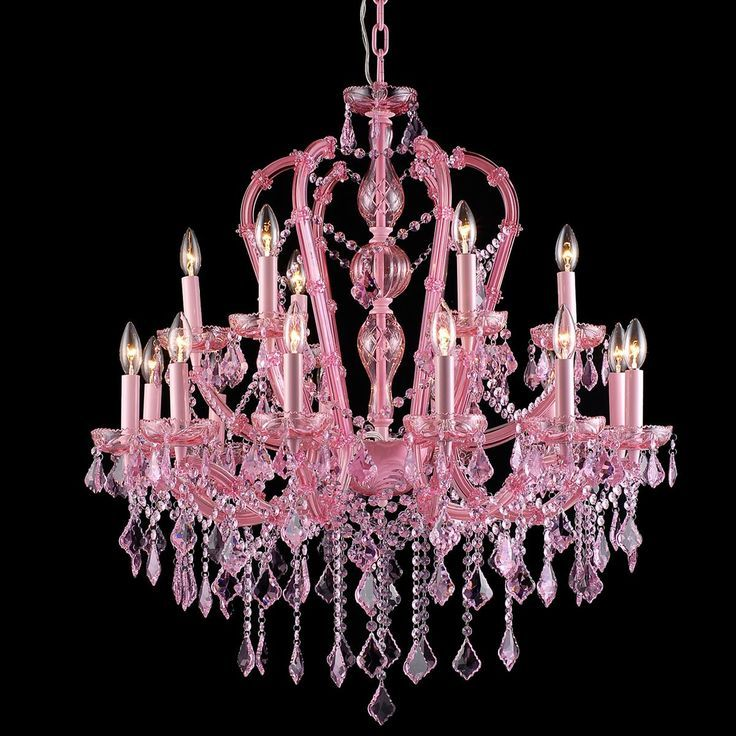 pink crystal chandelier | Pink Traditional Colored 18 Light ...