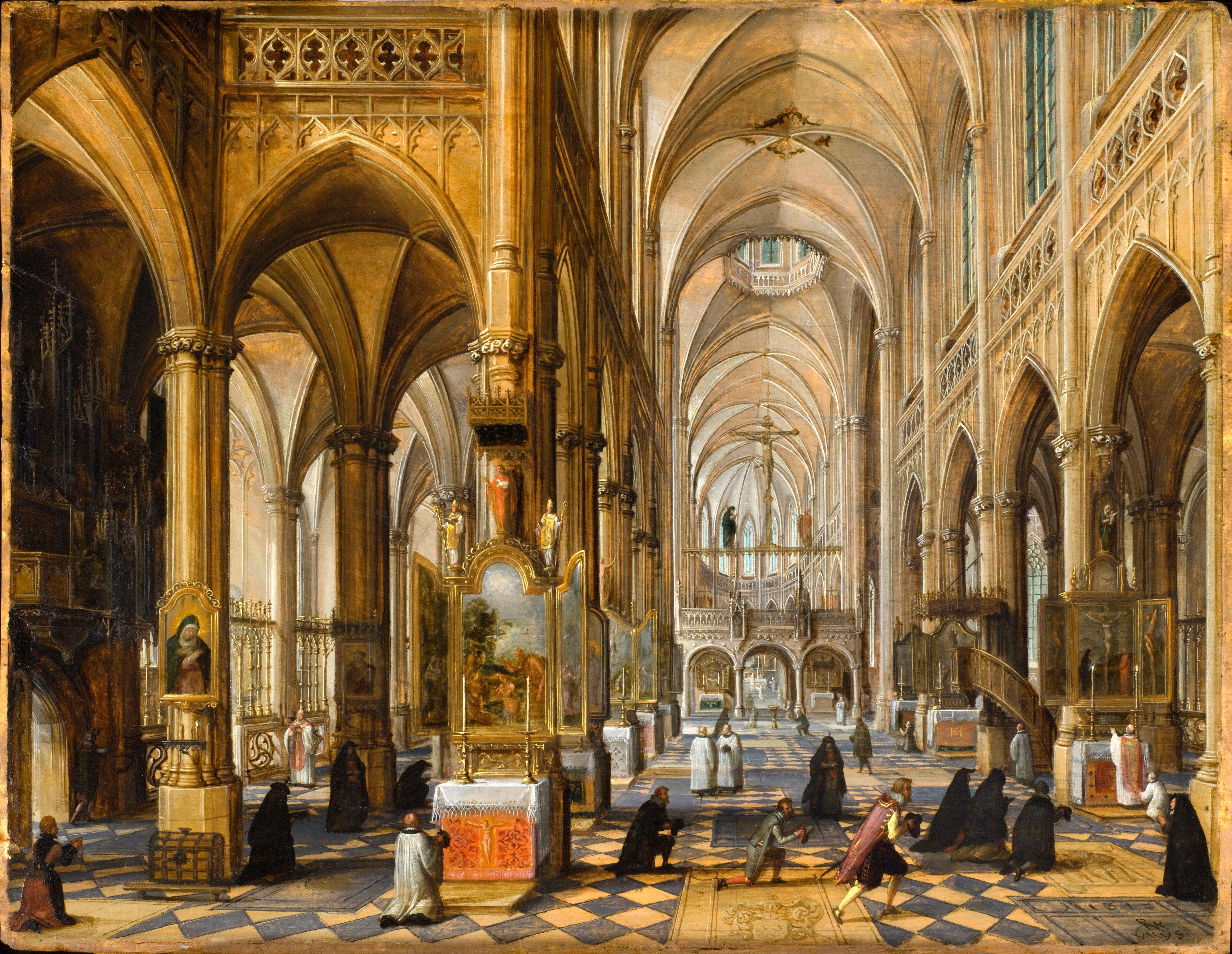 Interior Of A Gothic Cathedral - Paul Vredeman de Vries ...