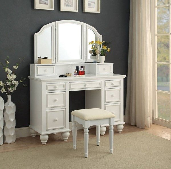 Athy Transitional White Solid Wood Vanity With Stool Bedroom
