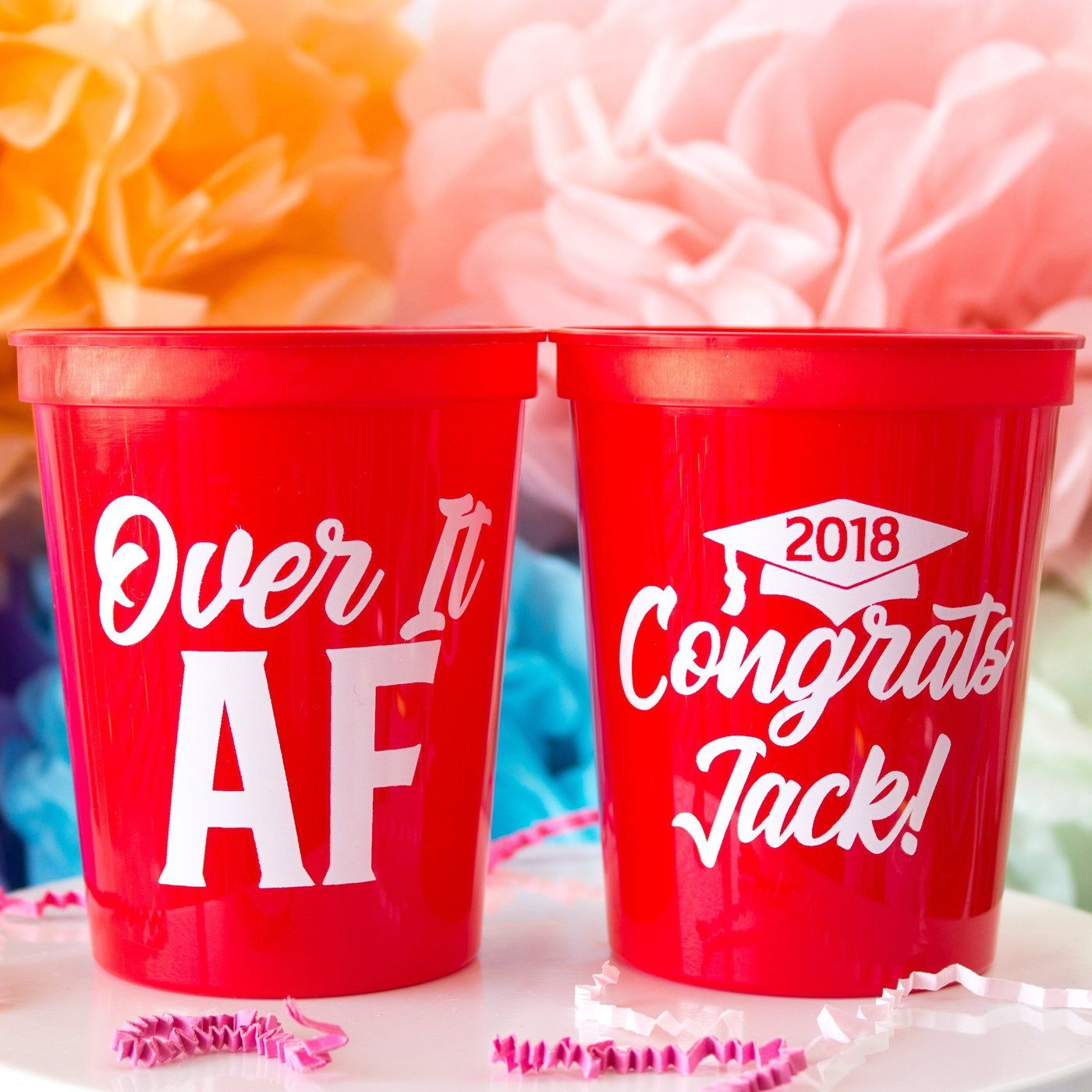 Graduation Party Decor Stadium Cups Custom Designed And Printed Personalized 16 Oz Plastic Stadium Graduation Party Cup Party Cups Graduation Party Decor