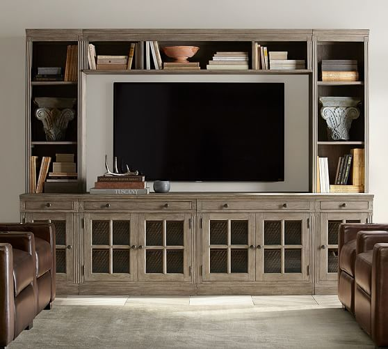3923 for everything or approx   2830 for just the bottom  Pottery Barn    LivingstonLivingston Medium Media Suite With Drawers  Gray Wash   Media  . Livingston Furniture. Home Design Ideas