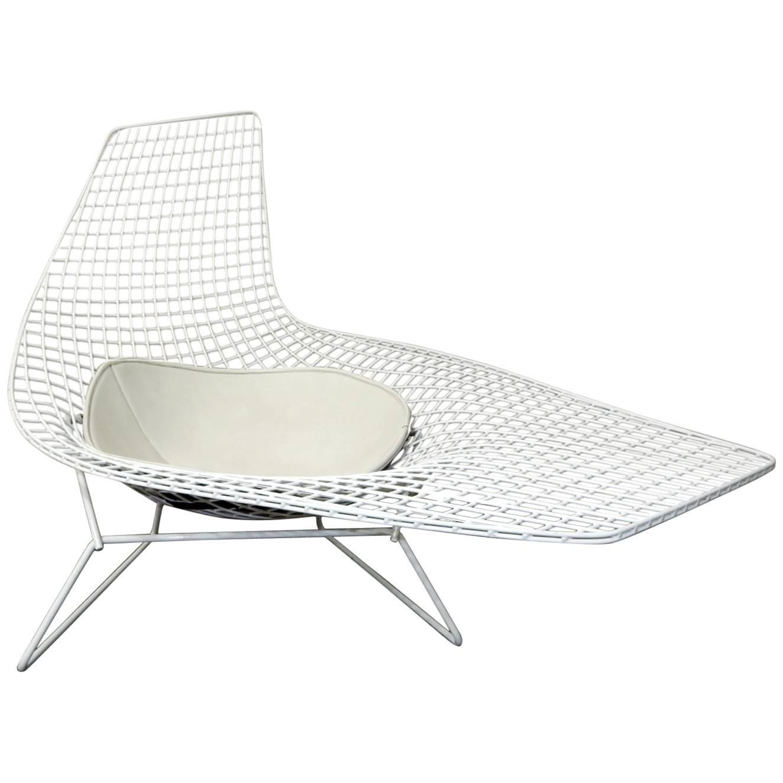 Harry Bertoia Knoll Asymmetric Sculptural Wire Chaise Lounge Bertoia Chaise Lounge Chaise