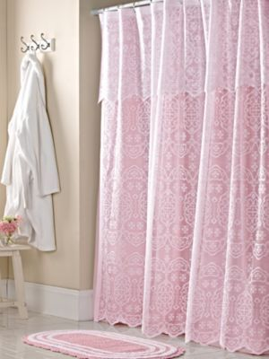 Lace Shower Curtain Liner And Bath Rug Set In 2020 Lace
