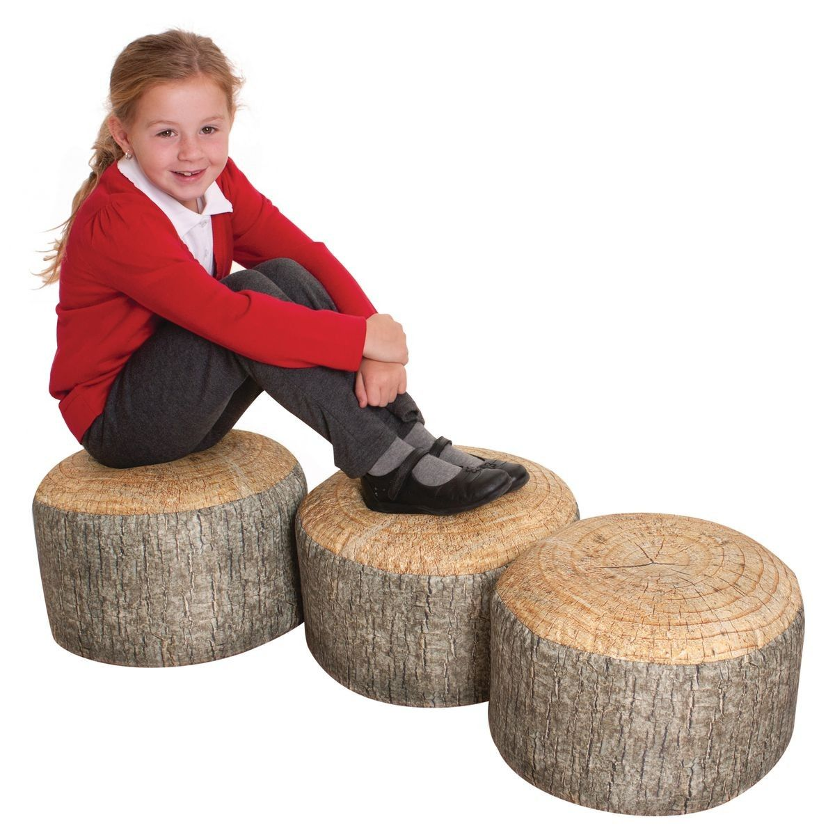 Tree Stump Bean Bags For A Forest Theme Reading Corner