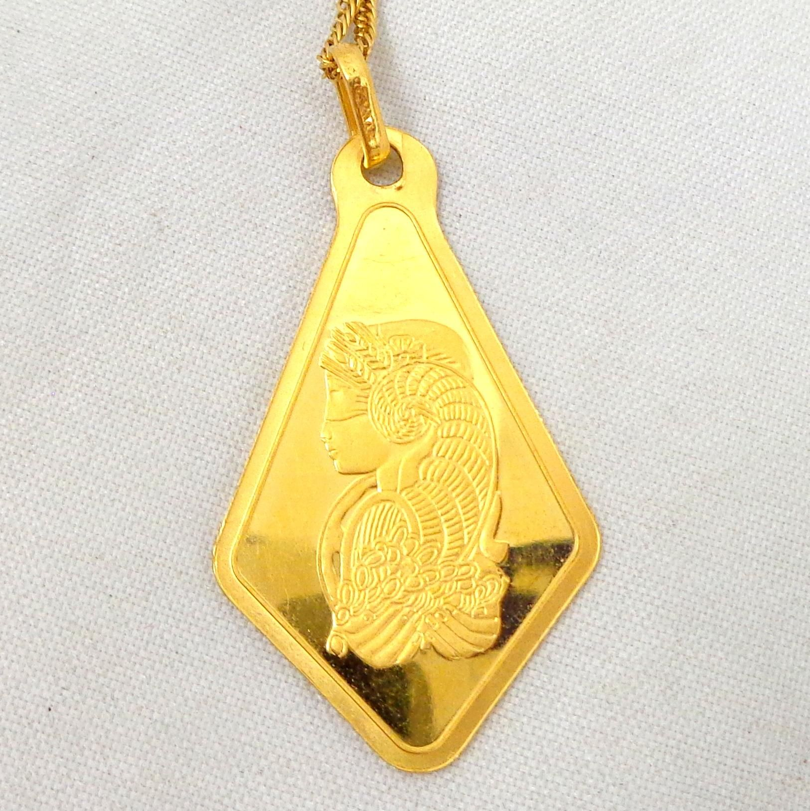 Estate 9999 Gold Pamp Suisse 25g Lady Fortuna Pendant W 24k Tiger Eye Sterling Silver Wire Wrapped By Withlovefromkelly Necklace