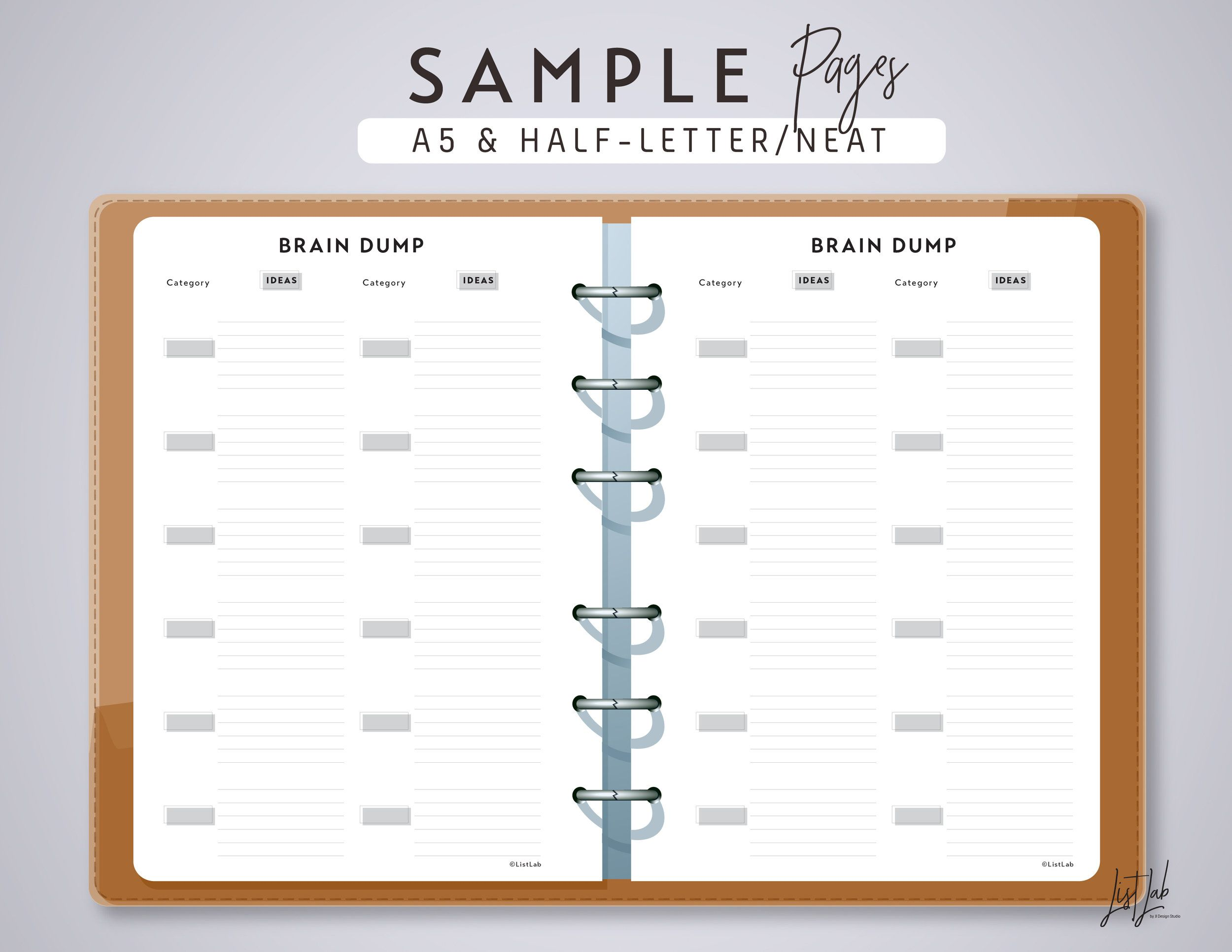 printable brain dump page in a5half letter size for 4 types of paper a4 letter size a5 and half letter fits personal size planner like filofax a5