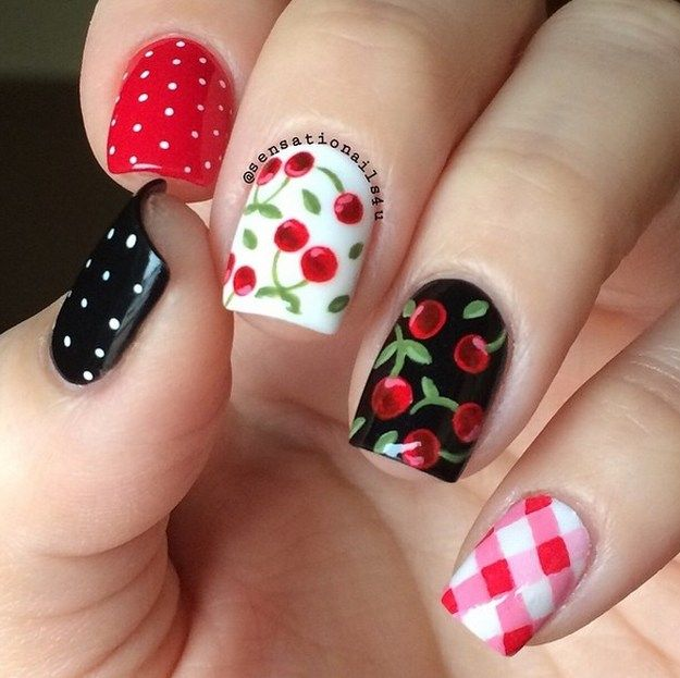 Cherry Nails | Yummy Fruit Nail Art Designs On Instagram To Drool Over - Yummy Fruit Nail Art Designs On Instagram To Drool Over Fruit