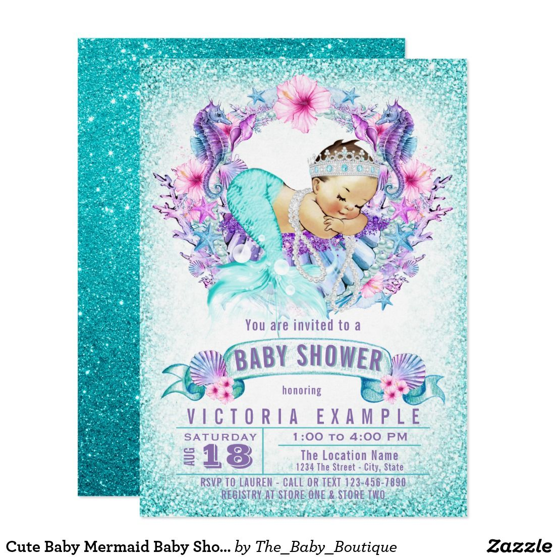 Cute Baby Mermaid Baby Shower Invitation | Mermaid baby showers and ...