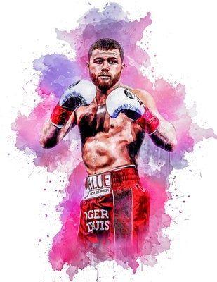 canelo alvarez boxer print poster watercolor handmade