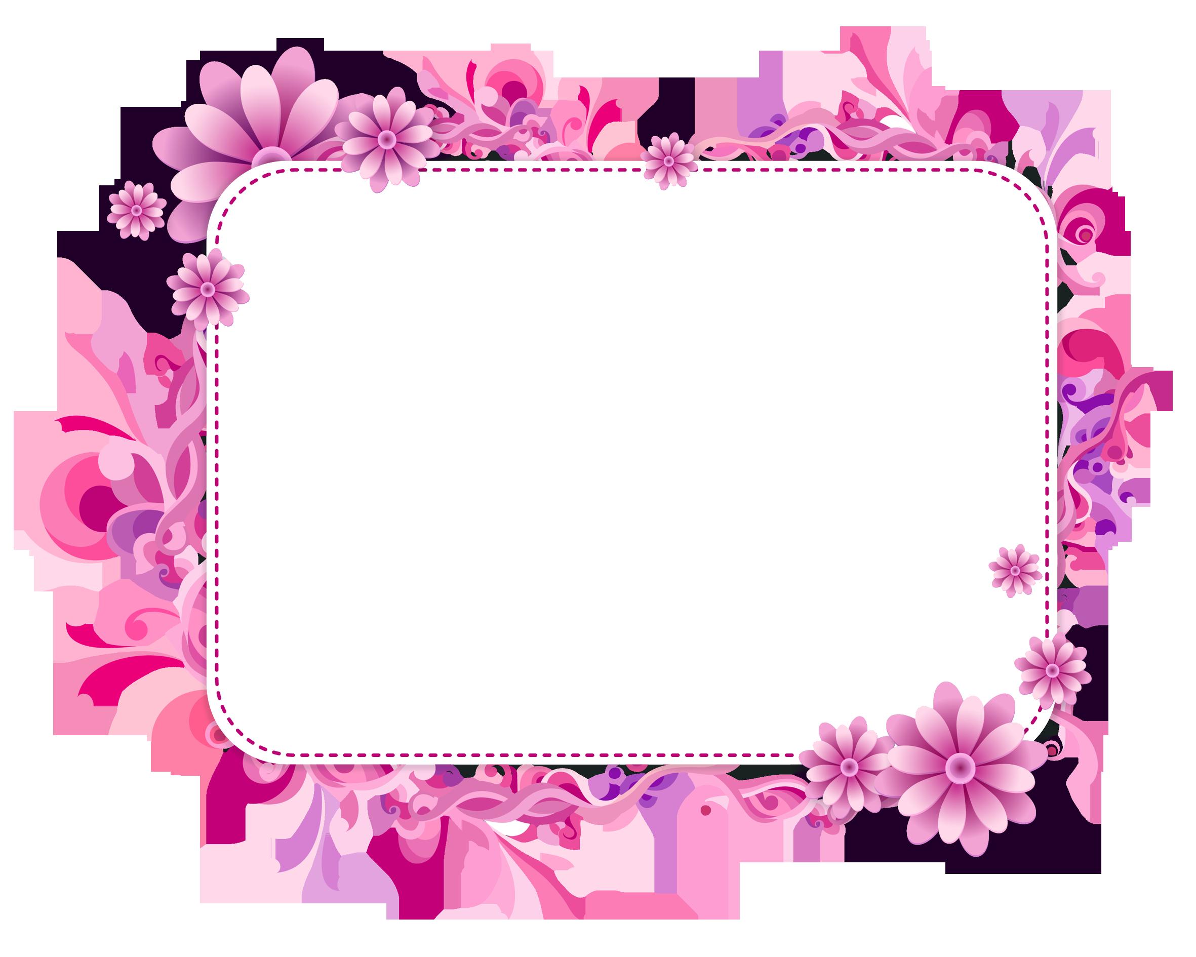 Pink and Purple Vector Frame Frame clipart, Flower frame