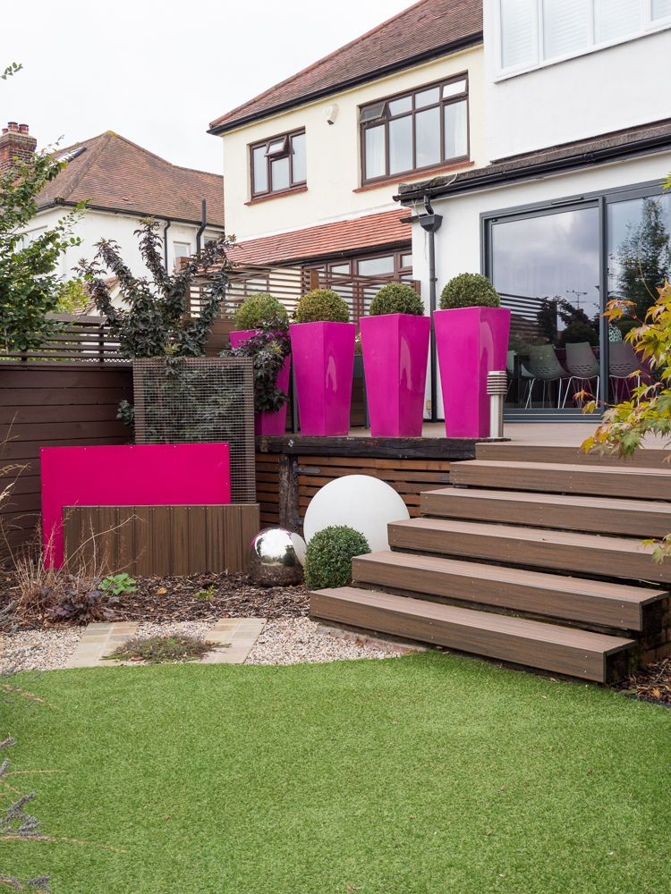 The upper terrace and lower garden are made safe with the addition of a row  of planters. If you live in Essex or London and are looking to have your  garden ... - Urban Garden Design Essex From Landscape Gardener Earth Designs