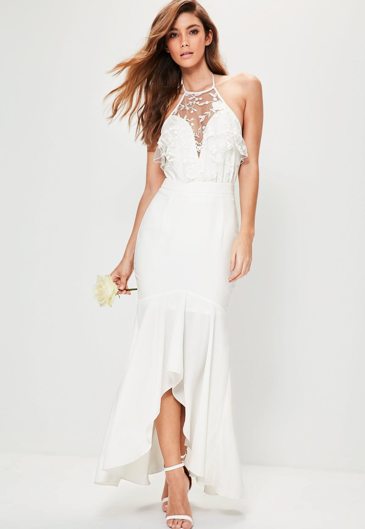 Bridal white hem frill maxi skirt missguided th wedding