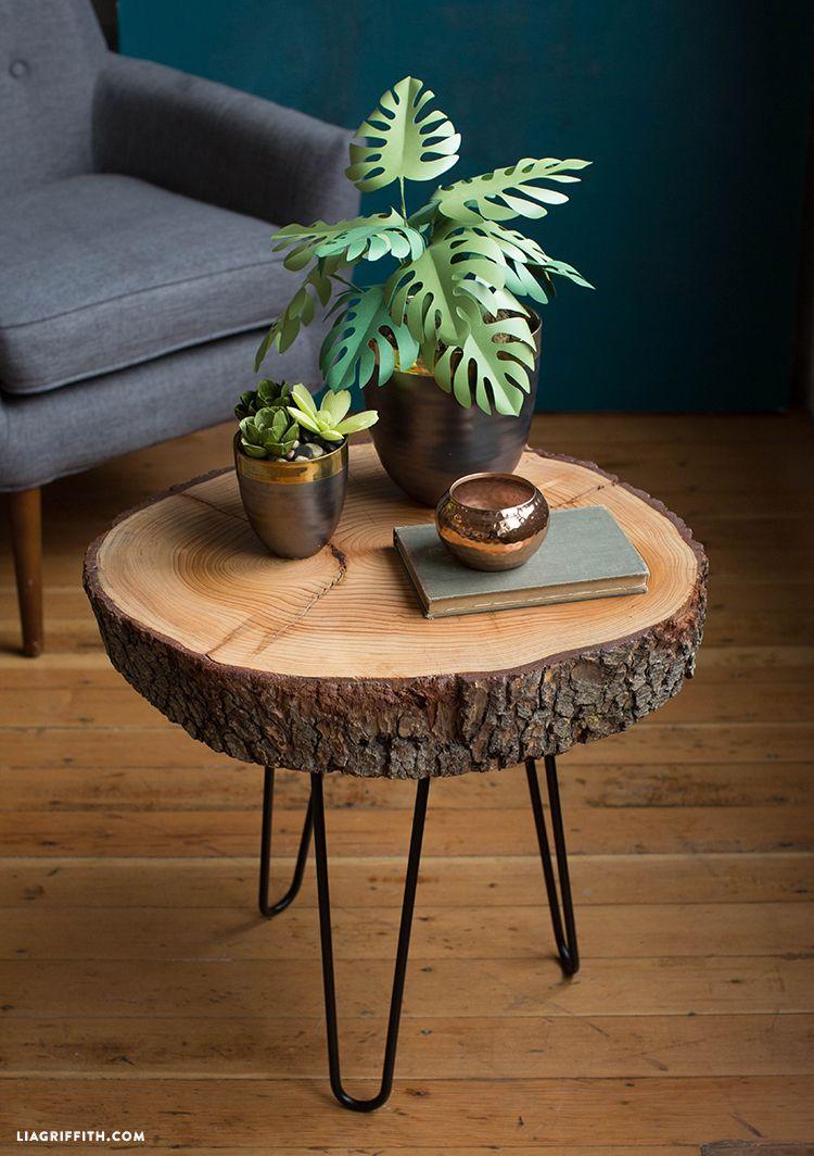 diy wood slice table handgemachte