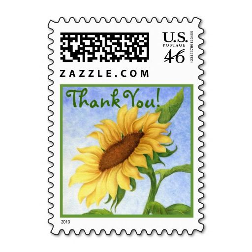 Painted Sunflower - Thank You Postage Stamp #art#collectible