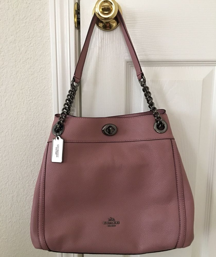 885e5d65b8d8 NWT Coach Turnlock Edie Chain Shoulder Bag Pebble Leather F36855 Dusty Rose  Pink