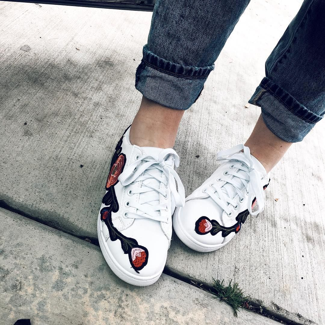 Embroidered sneakers, gucci dupe