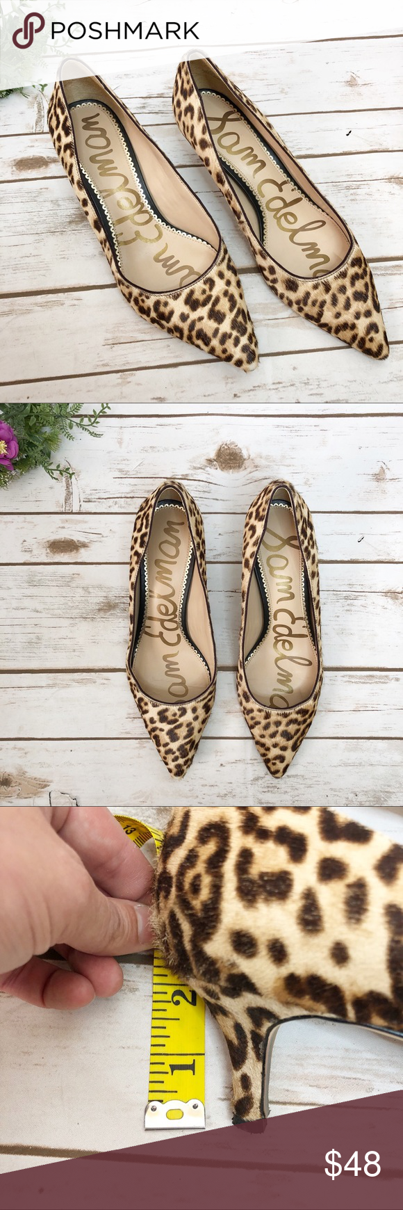 Sam Edelman Dori Leopard Animal Print Kitten Heel Kitten Heels Leopard Animal Shoes Women Heels
