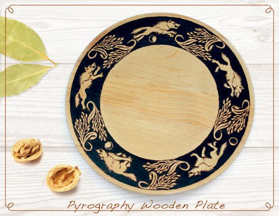 Decorative pyrography wooden plate, Wolf wood burned plate, celtic ...