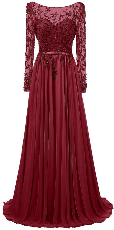 Amazon Canada Dresstells Long Jewel Prom Dress Beaded Sleeved Evening Party Gown Burgundy Beaded Evening Gowns Prom Dresses Long With Sleeves Evening Gowns