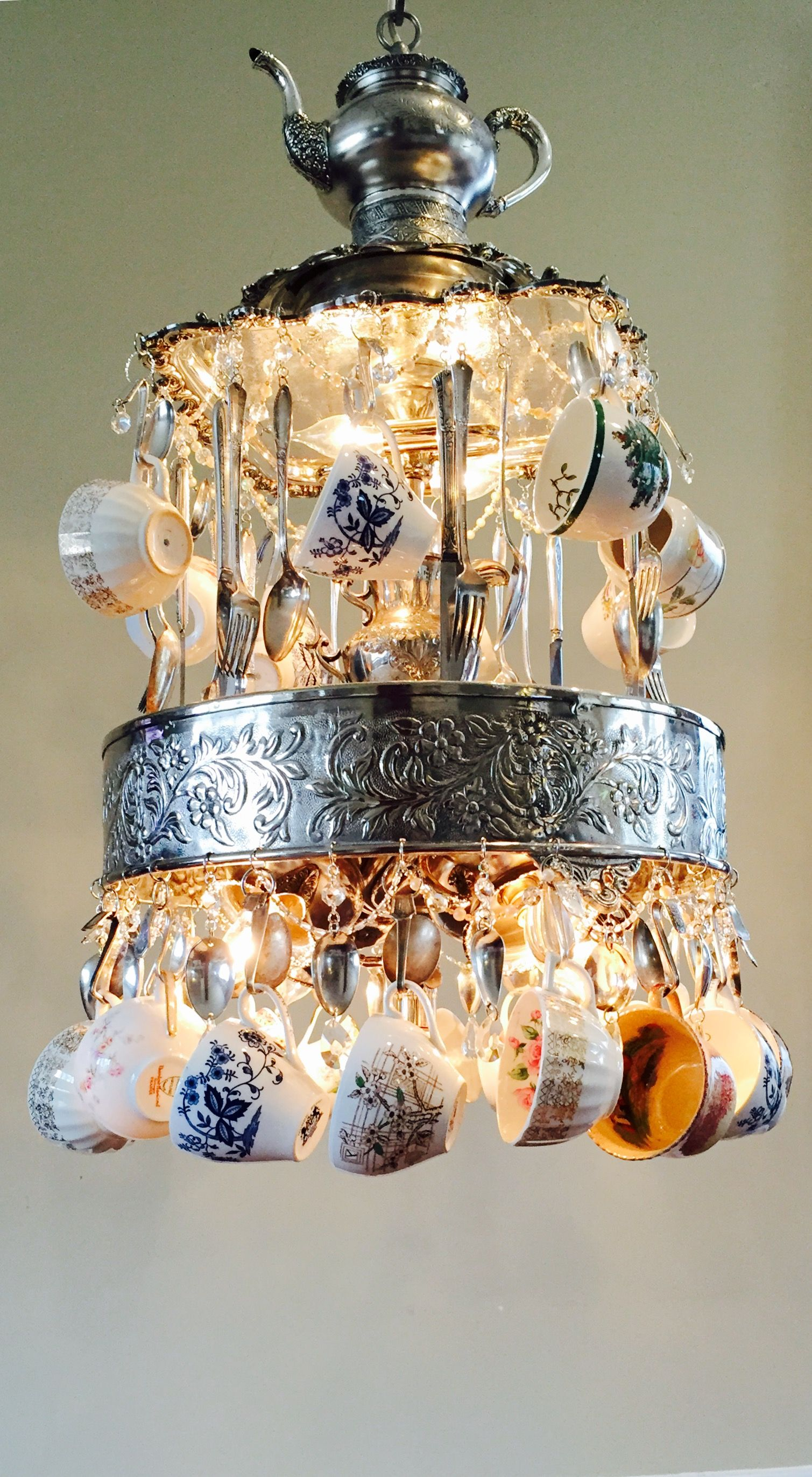 This is crazy see the light pinterest chandeliers lights and cant wait to install this custom vintage teacup silverware and silver teapot chandelier in our kitchen had it custom made by leigh at lit for a queen arubaitofo Choice Image