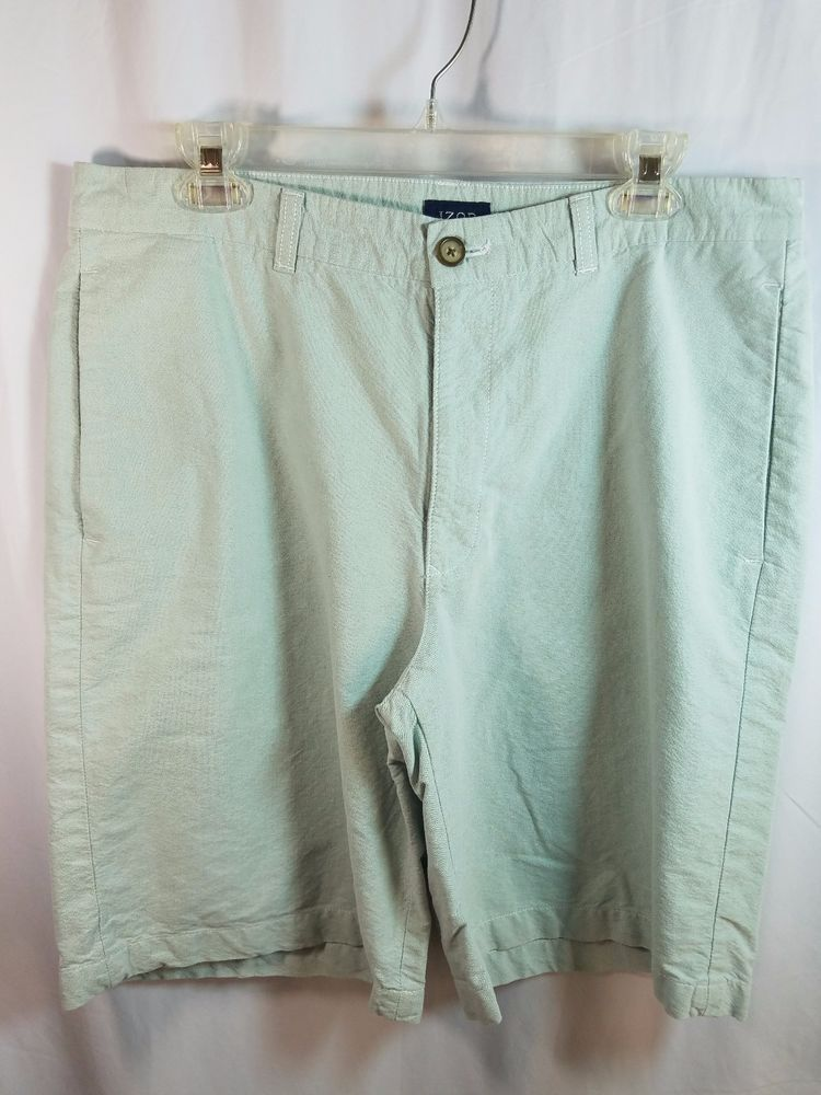 Izod Pale Sage Green 100% Cotton Mens Shorts Size 34 #IZOD #CasualShorts