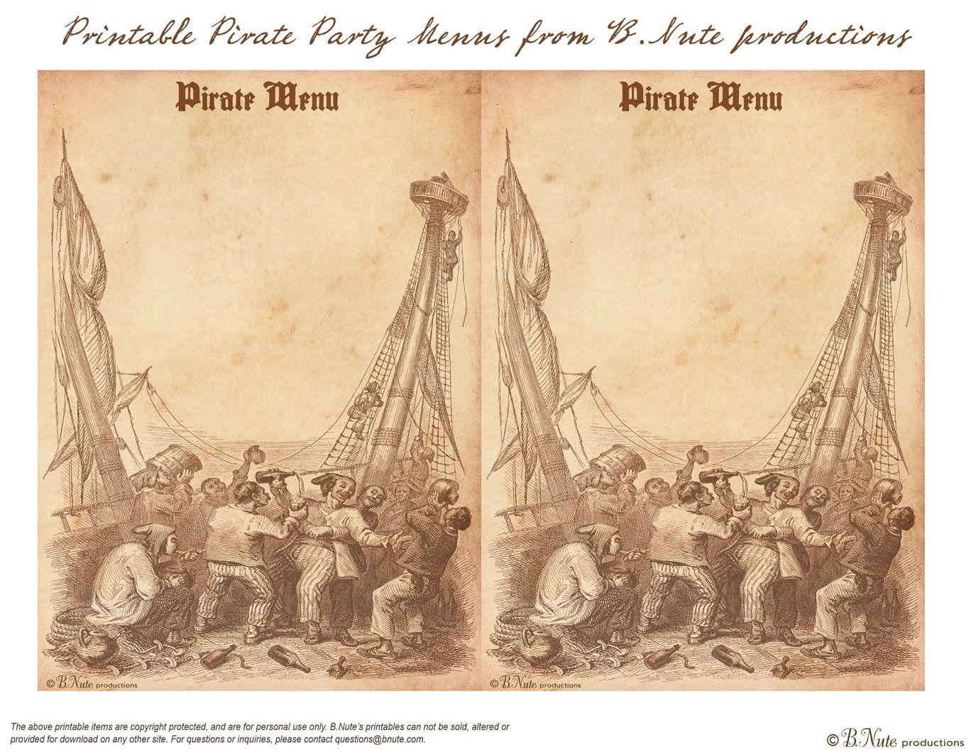 Pirate Party Food And Grog Ideas Free Printable Menu