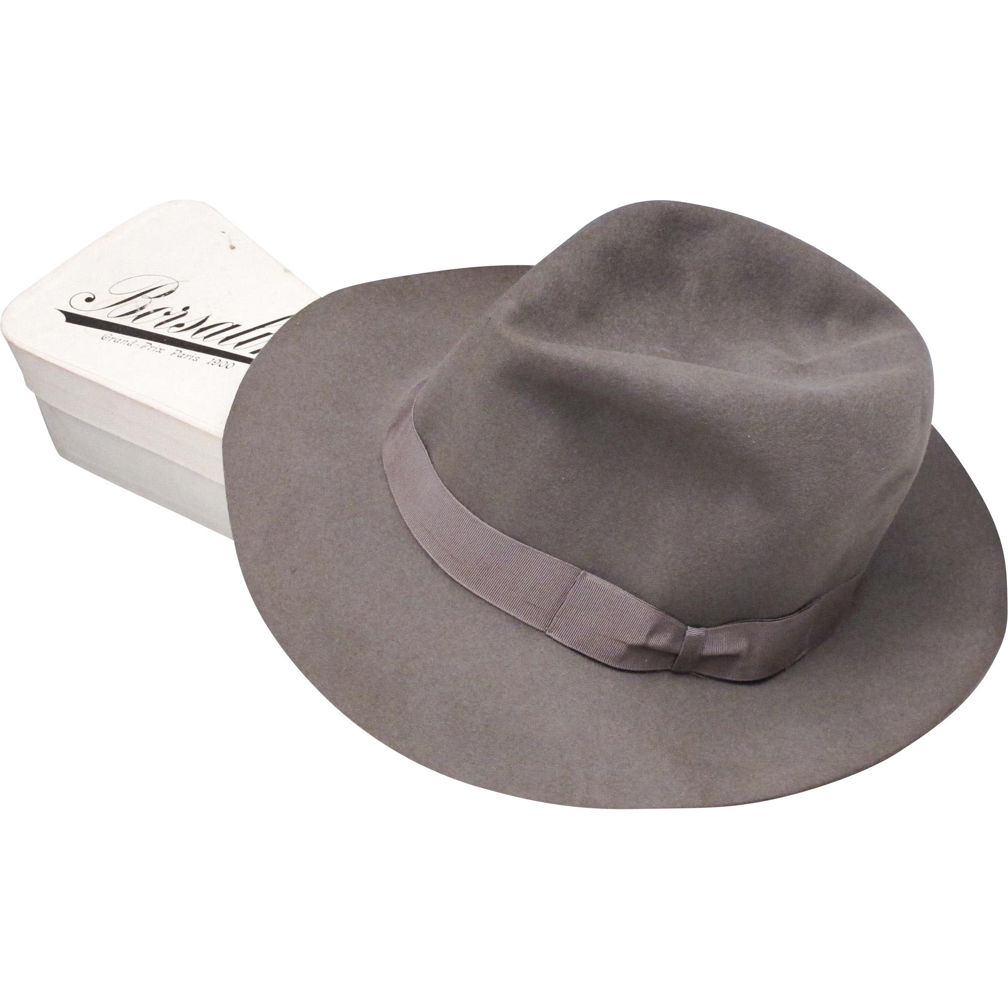 2469d683237 Vintage Borsalino Fedora Hat - Feather Weight - Rolled in Original Box -  Rollable  rubylane  50shadesofgrey