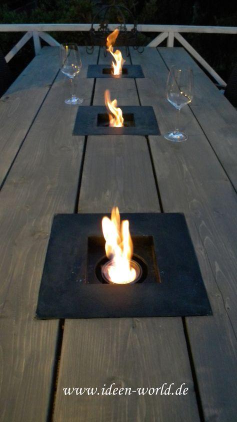 Tischfeuer Holz Tisch Garten Inspiracje Pinterest Gardens - lounge tisch garten holz