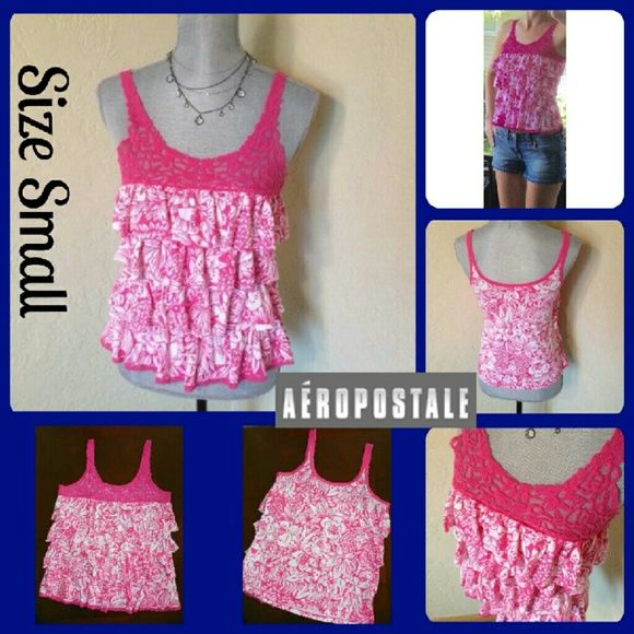 """🎀Sale🎀Sz Small, Aeropostale Tank Top, Ruffles Perfect Condition, Worn 1 time. No wear, tears or stains. Chest measures 16"""" across from under arm to under arm, Length is 23"""" from shoulder seam to bottom. 60% Cotton, 40% Polyester (T8) Aeropostale Tops Tank Tops"""
