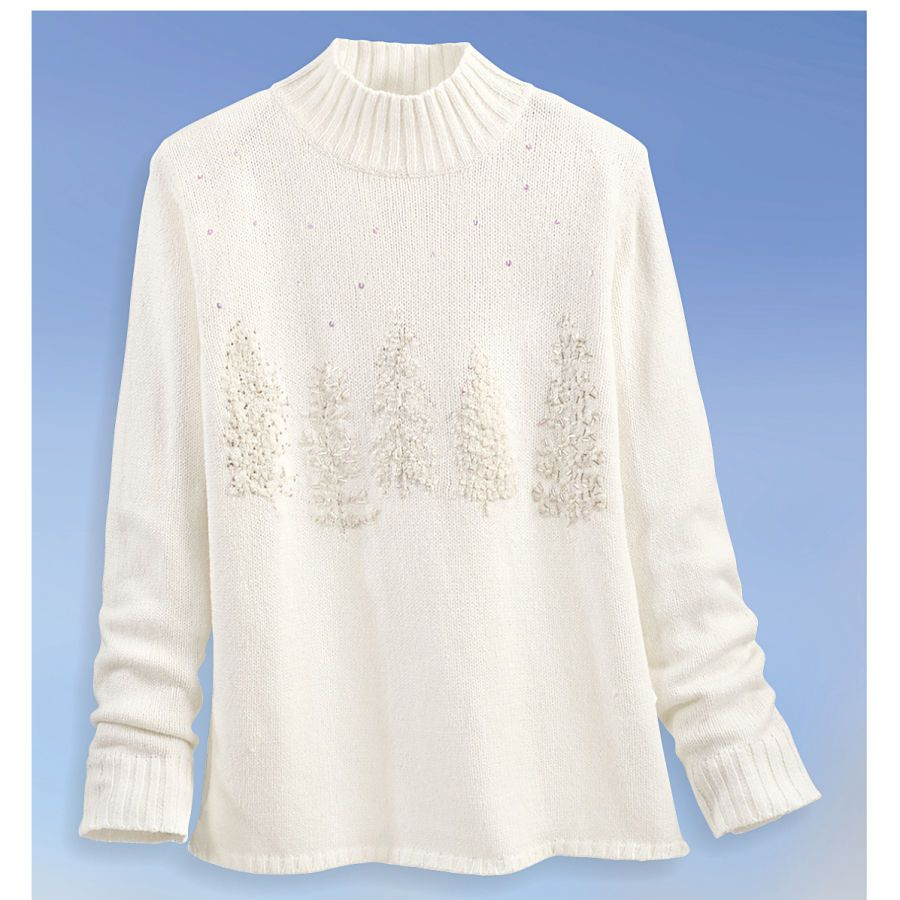 white christmas tree sweater with sequins and beads