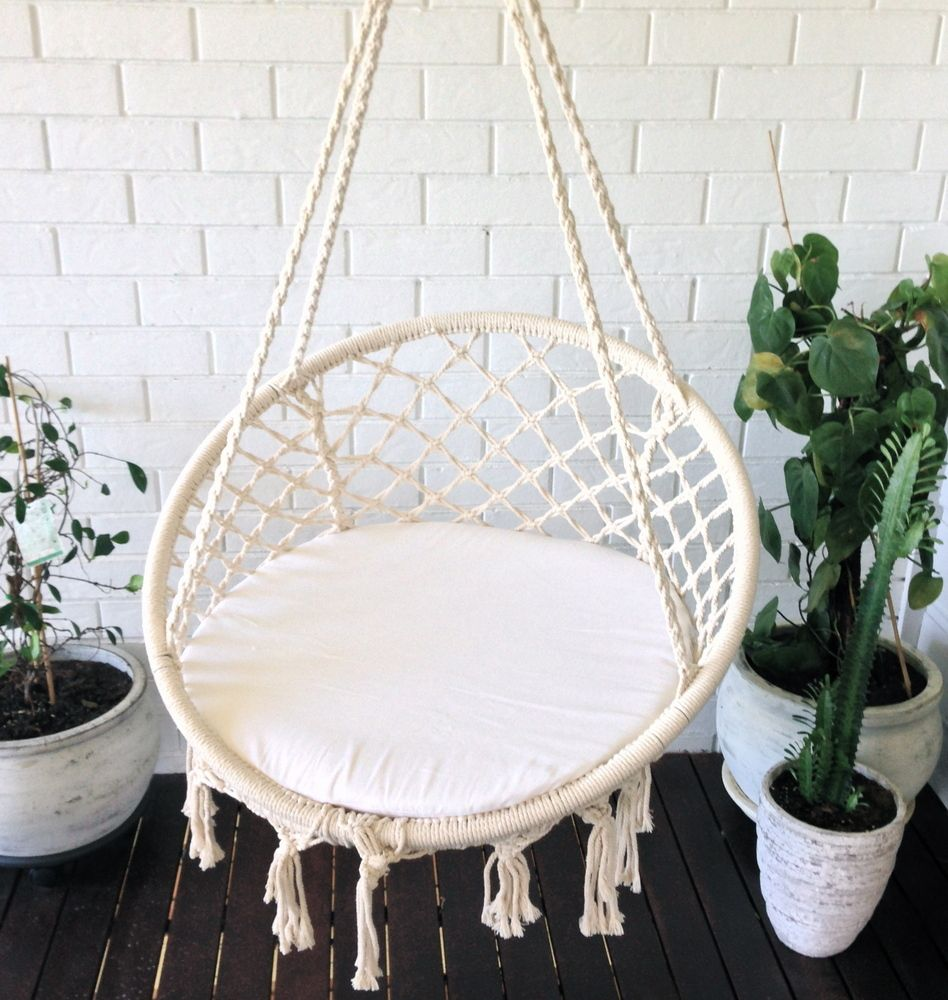 White Seat Round Padding Pillow For Macrame Hammock Chair Hanging Armchair  Cotton