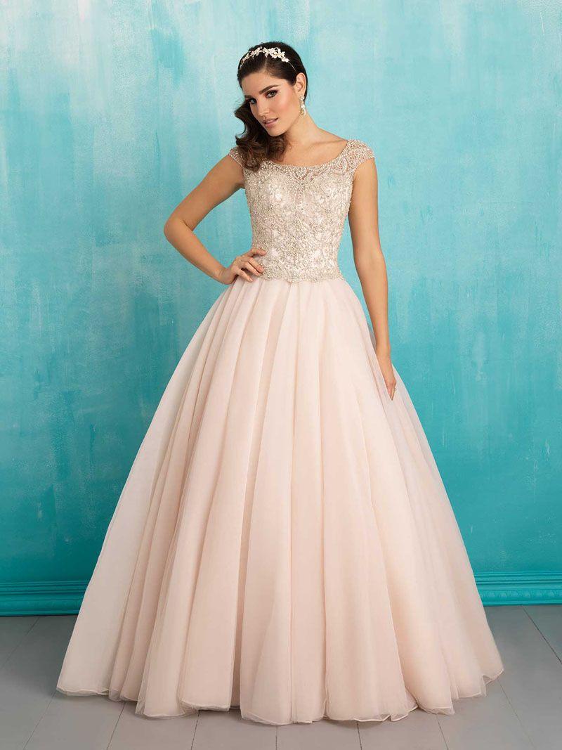 Shimmer Beaded Bodice Floor Length Ball Gown Tulle Wedding Dress ...