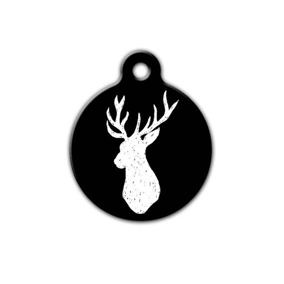 Peachy Rustic Dog Tag Outdoor Pet Tag Deer Head Silhouette Unique Download Free Architecture Designs Intelgarnamadebymaigaardcom