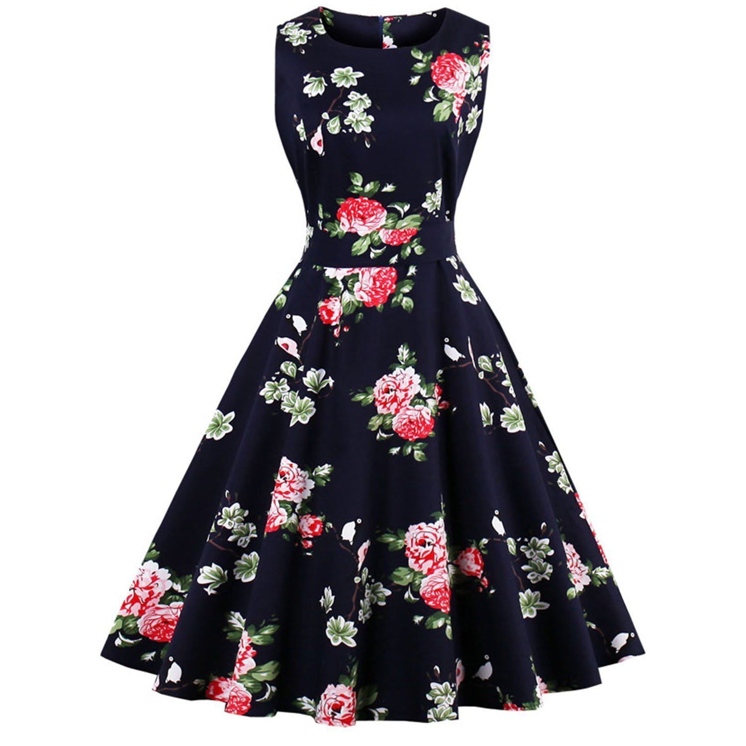 Tea length wedding dress patterns to sew  Awesome Amazing su Floral Vintage Women Dresses Rockabilly Party
